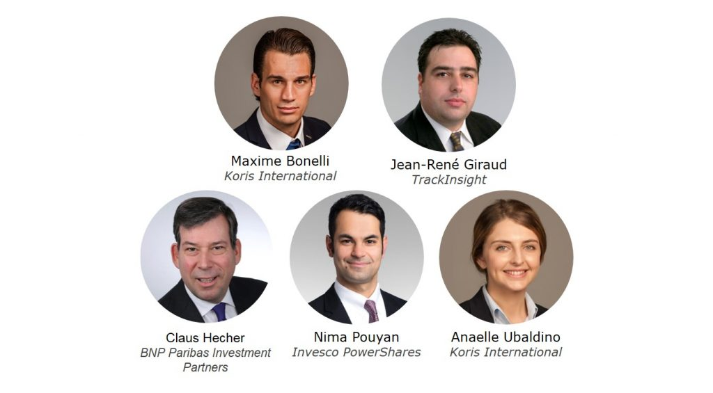 Maxime Bonelli - Koris International, Jean-René Giraud - TrackInsight, Claus Hecher - BNP Paribas Investment Partners, Nima Pouyan - Invesco PowerShares, Anaelle Ubaldino - Koris International, speakers at the TrackInsight Investor Summit Zurich 2017, 16 May 2017